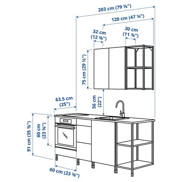 ENHET Kitchen, anthracite/grey frame, 203x63.5x222 cm