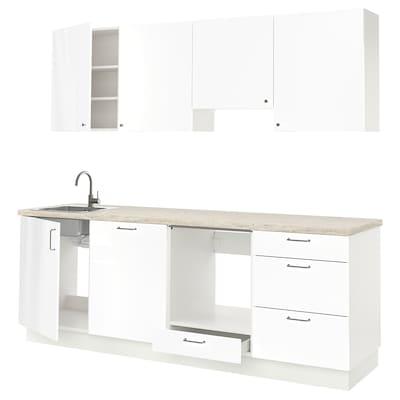 ENHET Kitchen, high-gloss white, 243x63.5x222 cm