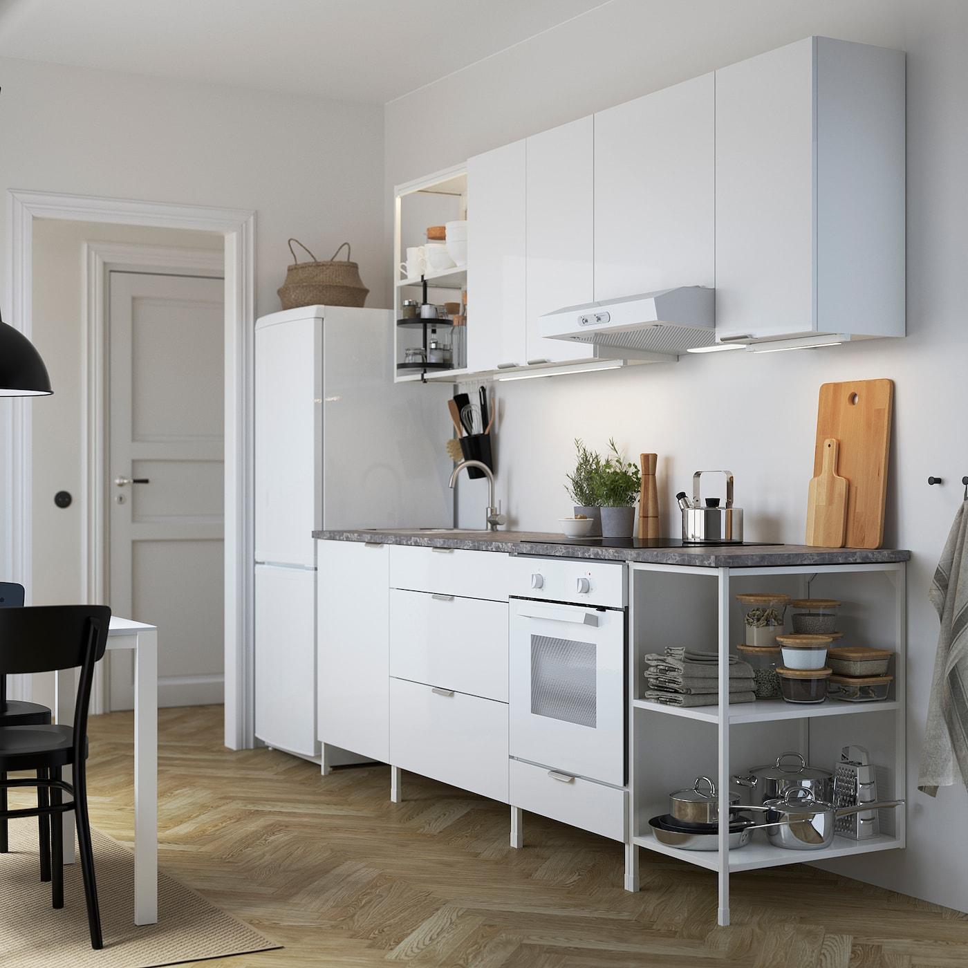 ENHET Kitchen, white/high-gloss white, 243x63.5x222 cm