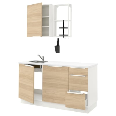ENHET Kitchen, white/oak effect, 163x63.5x222 cm