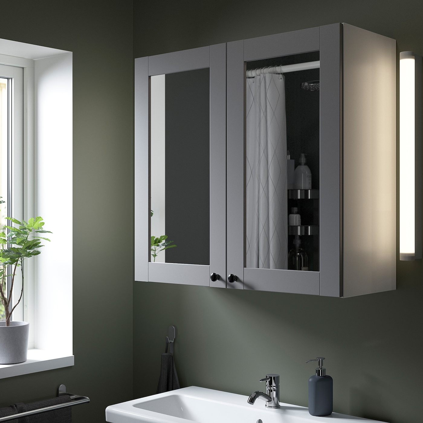 ENHET Mirror cabinet with 2 doors, white/grey frame, 80x32x75 cm