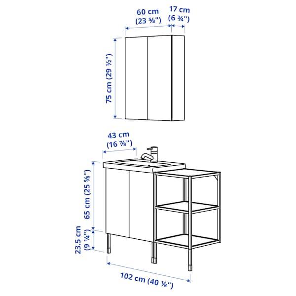 ENHET / TVÄLLEN Bathroom furniture, set of 14, white frame/anthracite Lillsvan tap, 102x43x87 cm
