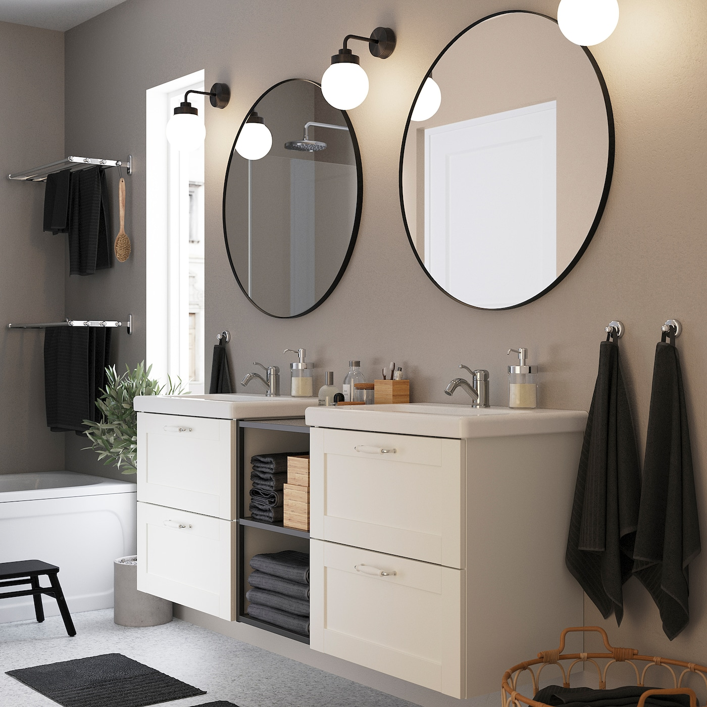 ENHET / TVÄLLEN Bathroom furniture, set of 15, white frame/anthracite Lillsvan tap, 164x43x65 cm