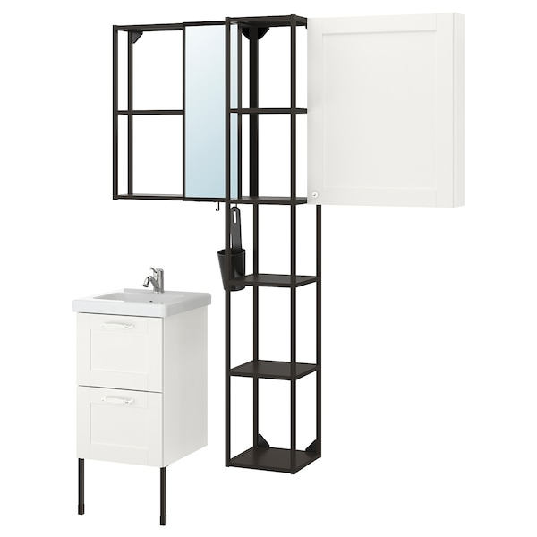ENHET / TVÄLLEN Bathroom furniture, set of 16, white frame/anthracite Lillsvan tap, 44x43x87 cm