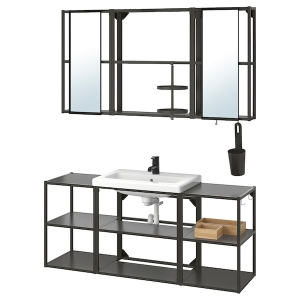 ENHET / TVÄLLEN Bathroom furniture, set of 17, anthracite/Saljen tap, 140x43x65 cm
