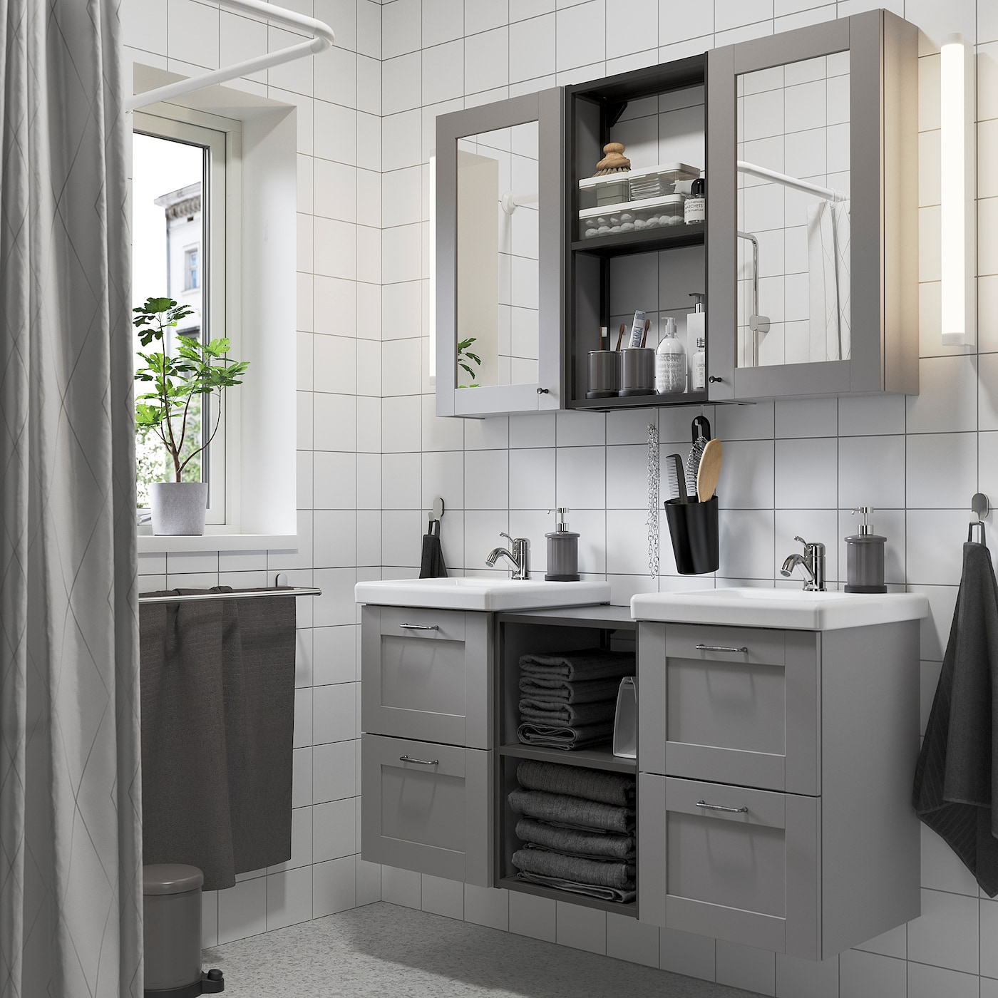 ENHET / TVÄLLEN Bathroom furniture, set of 22, grey frame/anthracite Lillsvan tap, 124x43x65 cm