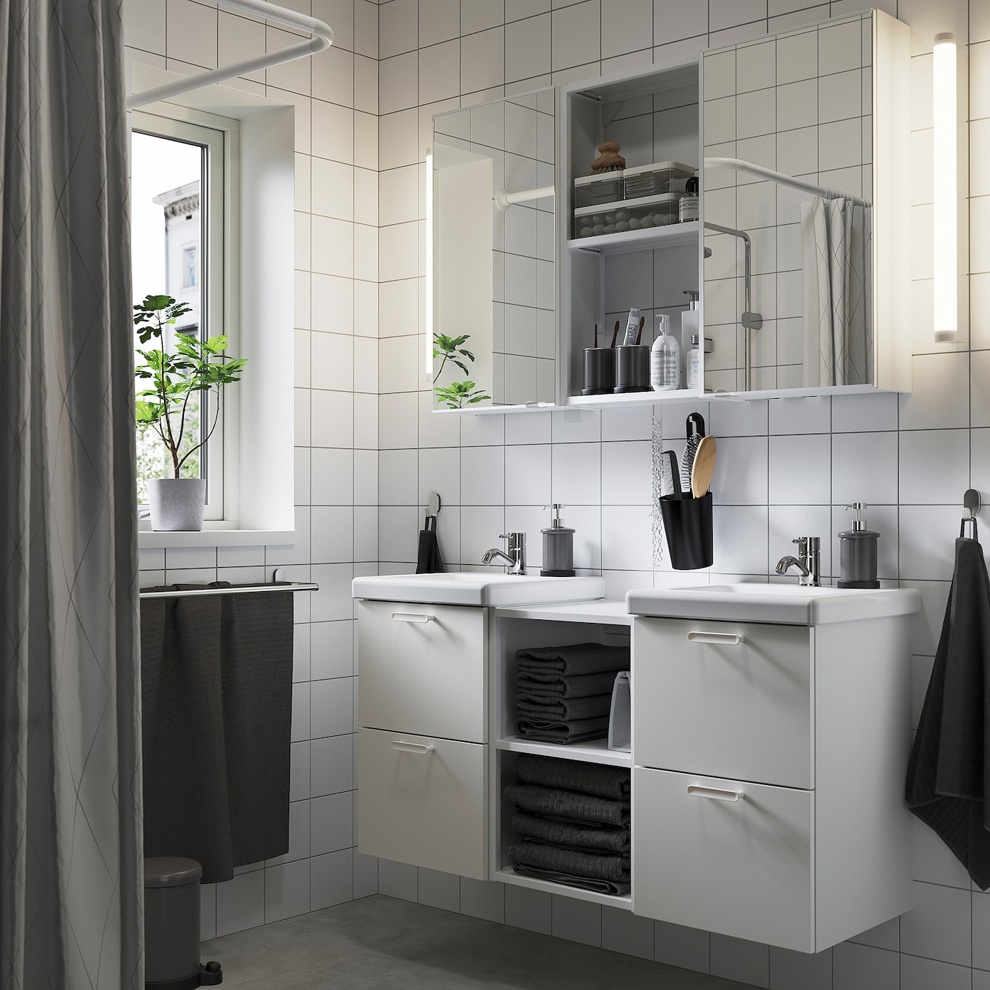 ENHET / TVÄLLEN Bathroom furniture, set of 22, white/Pilkån tap, 124x43x65 cm