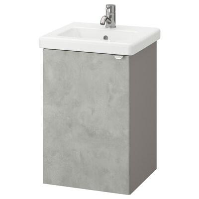 ENHET / TVÄLLEN Wash-basin cabinet with 1 door, concrete effect/grey Pilkån tap, 44x43x65 cm