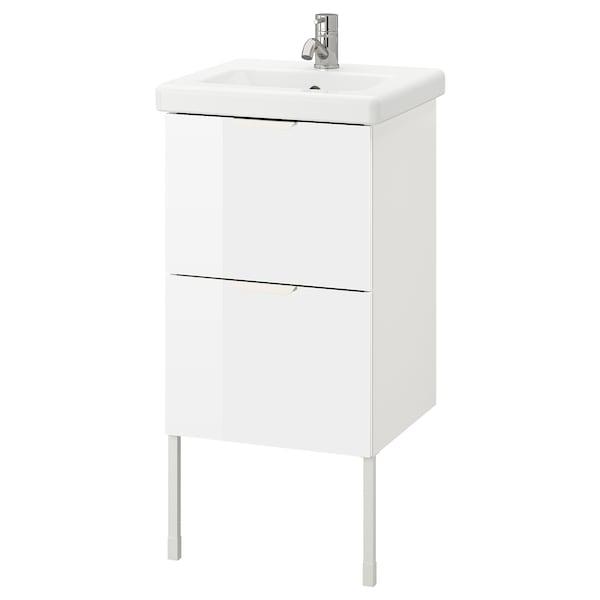 ENHET / TVÄLLEN Wash-stand with 2 drawers, high-gloss white/white Pilkån tap, 44x43x87 cm