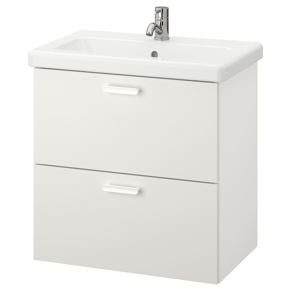 ENHET / TVÄLLEN Wash-stand with 2 drawers, white/Pilkån tap, 64x43x65 cm