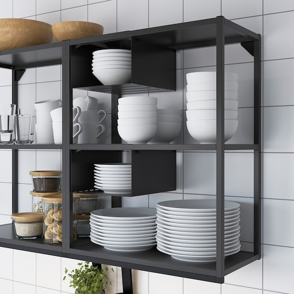 ENHET Wall fr w shelves, anthracite, 60x30x75 cm