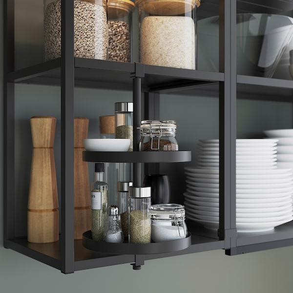 ENHET Wall storage combination, anthracite/grey frame, 60x32x150 cm