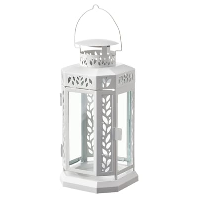 ENRUM Lantern f block candle, in/outdoor, white, 27 cm
