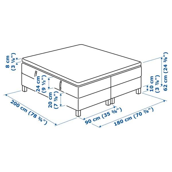 ESPEVÄR Divan bed, Hövåg firm/Tussöy dark grey, 180x200 cm