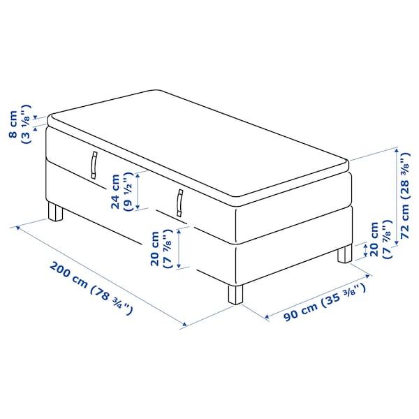 ESPEVÄR Divan bed, Hövåg firm/Tussöy dark grey, 90x200 cm