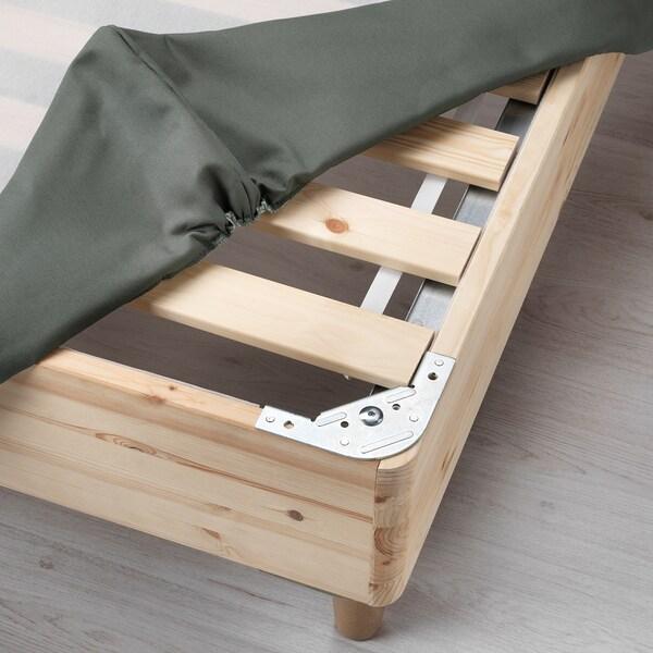 ESPEVÄR Divan bed, Hövåg medium firm/Tussöy dark grey, 140x200 cm
