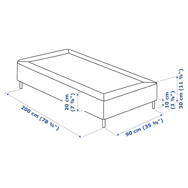 ESPEVÄR Sprung mattress base with legs, dark grey, 90x200 cm