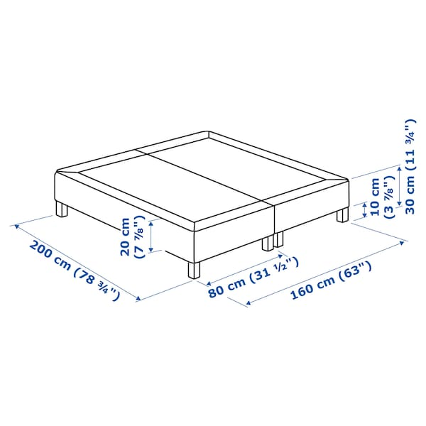 ESPEVÄR Sprung mattress base with legs, white, 160x200 cm