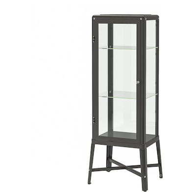 FABRIKÖR Glass-door cabinet, dark grey, 57x150 cm