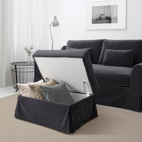 FÄRLÖV footstool with storage Djuparp dark grey 64 cm 84 cm 51 cm 4 cm 95 l