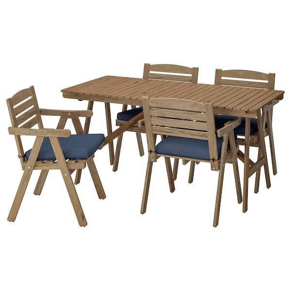 FALHOLMEN Table+4 chairs w armrests, outdoor, light brown stained/Frösön/Duvholmen blue