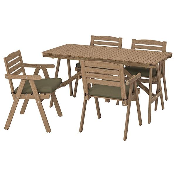 FALHOLMEN Table+4 chairs w armrests, outdoor, light brown stained/Frösön/Duvholmen dark beige-green