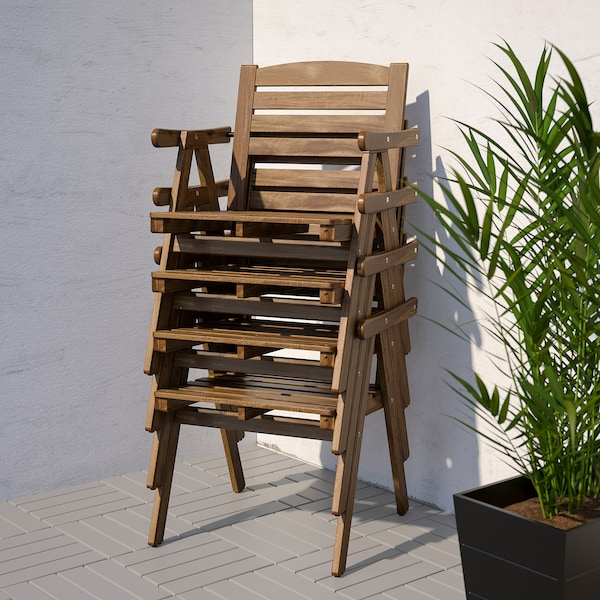 FALHOLMEN Table+4 chairs w armrests, outdoor, light brown stained/Frösön/Duvholmen dark grey