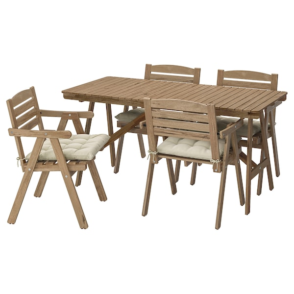 FALHOLMEN Table+4 chairs w armrests, outdoor, light brown stained/Hållö beige