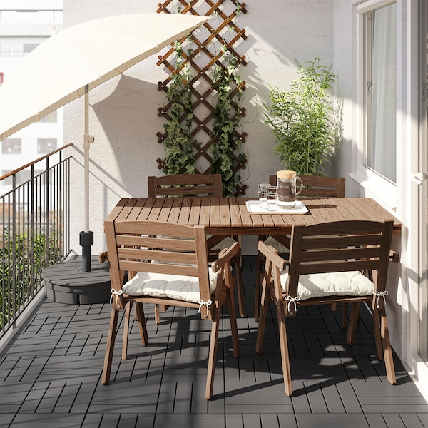 FALHOLMEN Table+4 chairs w armrests, outdoor, light brown stained/Kuddarna beige