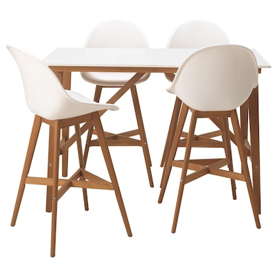 FANBYN bar table and 4 bar stools white/white 140 cm 78 cm 95 cm