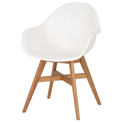 FANBYN Chair with armrests, white/in/outdoor