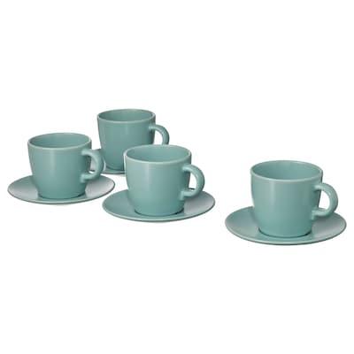 FÄRGKLAR Cup with saucer, matt light turquoise, 25 cl