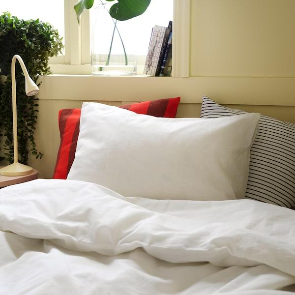 FÄRGMÅRA Duvet cover and 2 pillowcases, white, 240x220/60x70 cm