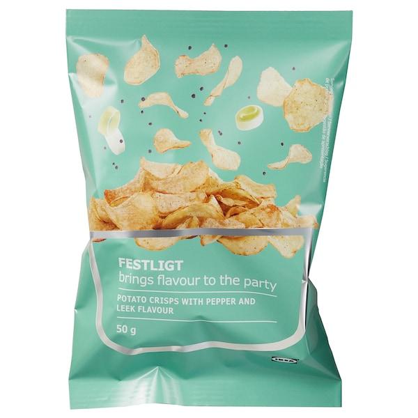 FESTLIGT Potato crisps, pepper leek, 50 g