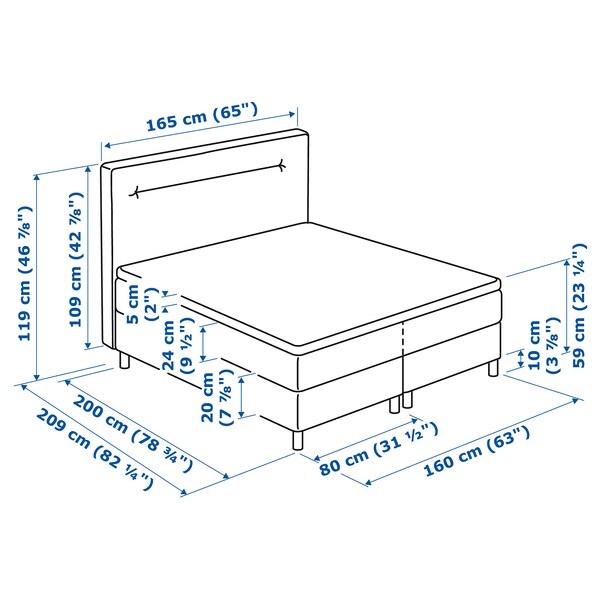 FINNSNES Divan bed, Hövåg firm/medium firm/Tuddal grey, 160x200 cm