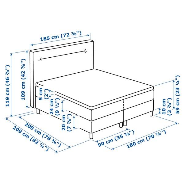 FINNSNES Divan bed, Hövåg firm/medium firm/Tuddal grey, 180x200 cm
