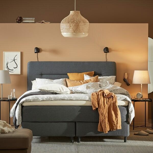 FINNSNES Divan bed, Hyllestad firm/medium firm/Tussöy grey, 160x200 cm