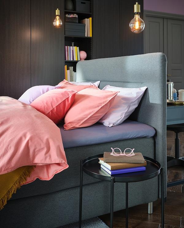 FINNSNES divan bed Hövåg medium firm/Tuddal grey 210 cm 160 cm 120 cm 200 cm 160 cm