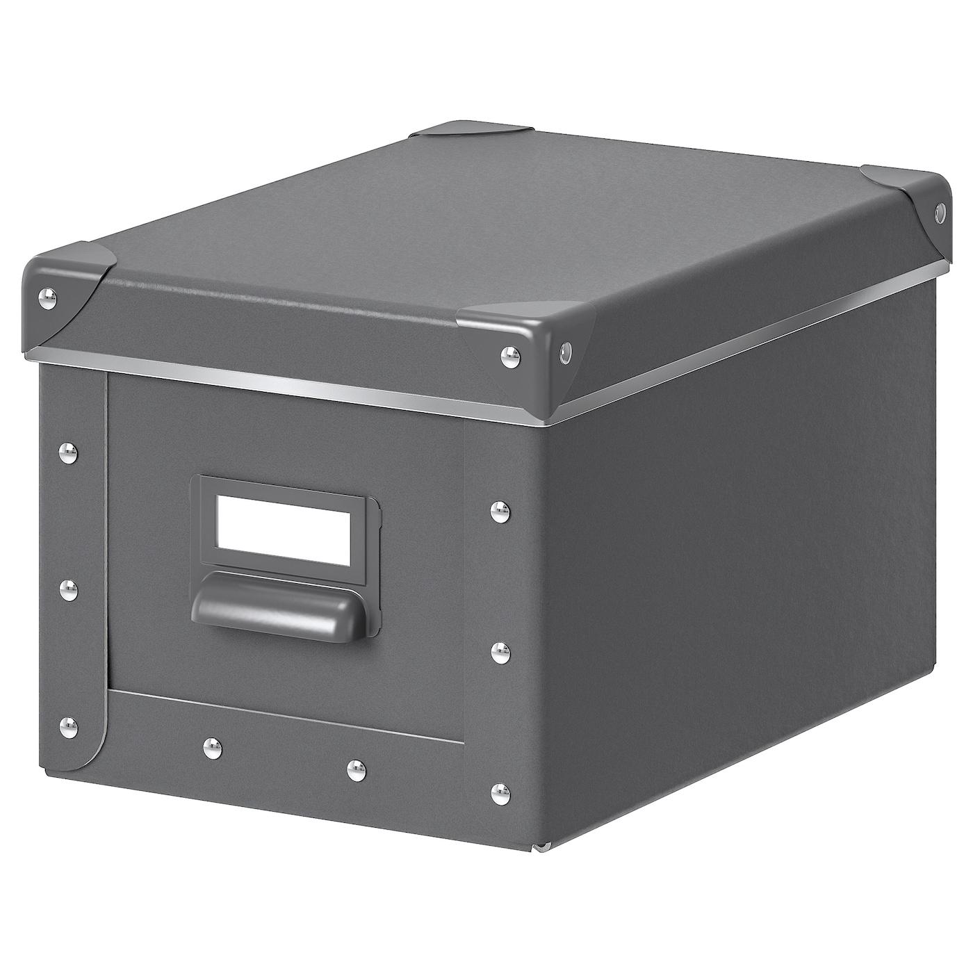 FJÄLLA Storage box with lid - dark grey - IKEA