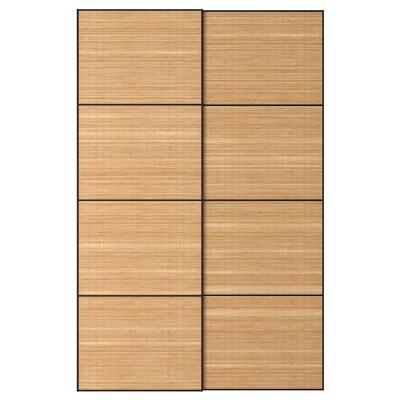 FJELLHAMAR Pair of sliding doors, dark bamboo, 150x236 cm