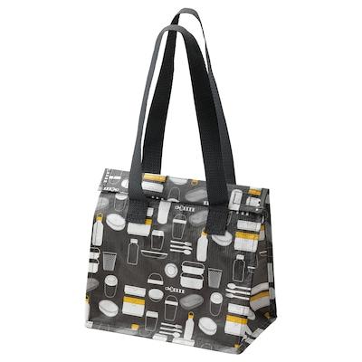 FLADDRIG Lunch bag, patterned grey, 25x16x27 cm