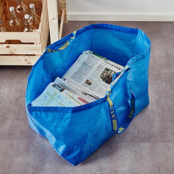 FRAKTA Carrier bag, large, blue, 55x37x35 cm/71 l