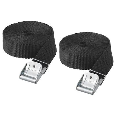 FRAKTA Luggage straps, black, 3.5 m 2 pack