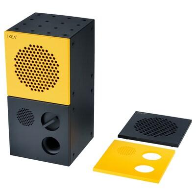 FREKVENS Speaker, black/yellow, 10x20 cm