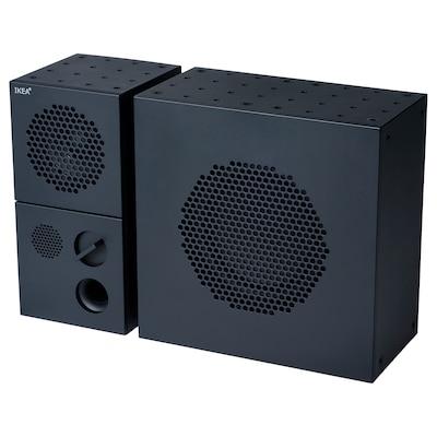 FREKVENS Speaker with subwoofer, black, 20x30 cm