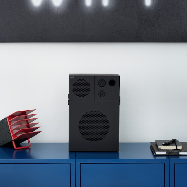 FREKVENS Speaker with subwoofer, black, 20x30 cm