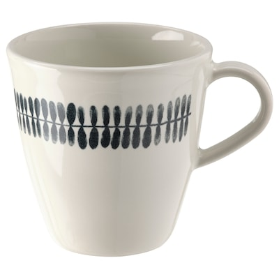 FRIKOSTIG Mug, white/patterned, 34 cl
