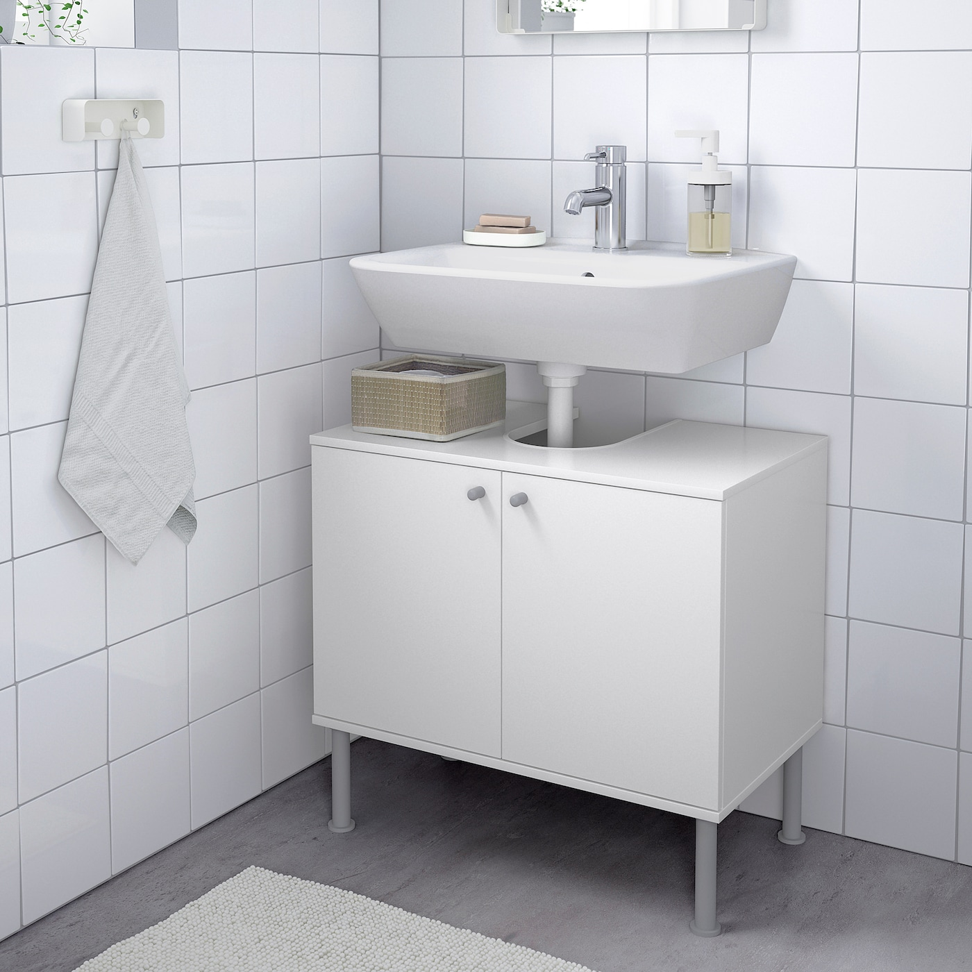 FULLEN Wash-basin base cabinet w 9 doors - white 9x9 cm