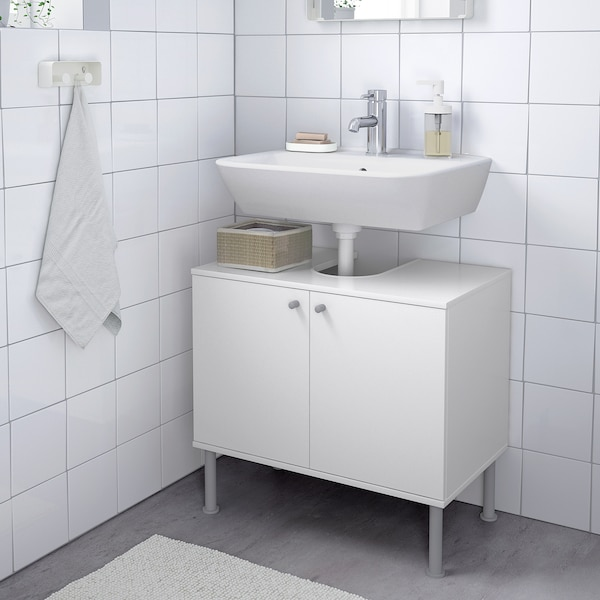 FULLEN Wash-basin base cabinet w 2 doors, white, 60x55 cm