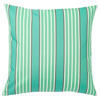 FUNKÖN Cushion cover, in/outdoor, turquoise/green, 50x50 cm